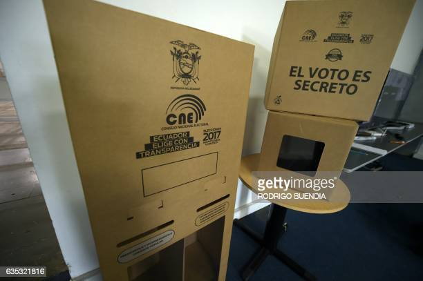View of electoral material in the outskirts of Quito on February 14 2017 More than 128 million Ecuadoreans will elect President Rafael Correa's...