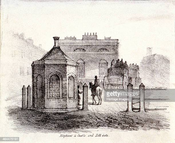 View of Elephant and Castle Inn Newington Butts and Newington Turnpike Newington Causeway Southwark London c1830 Also depicting a horse drawn carriage