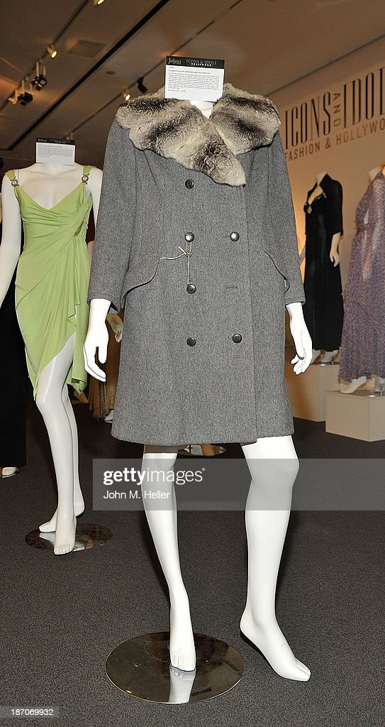 A view of Elizabeth Taylor's Christian Dior Couture dress at the press preview for Icons & Idols Fashion and Hollywood Exhibit at Julien's Auctions Gallery on November 5, 2013 in Los Angeles, California.