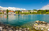 View of embankment in Lausanne - Switzerland