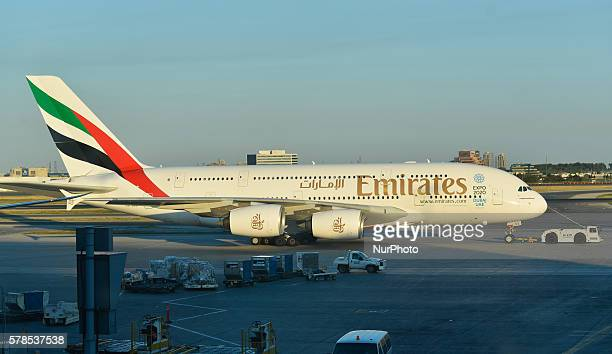 A view of Emirate plane at Toronto Pearson International Airport On Wednesday 20 July 2016 in Toronto Canada
