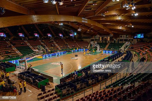 View of empty arena before the 20142015 Turkish Airlines Euroleague Basketball Regular Season Date 5 game between Limoges CSP vs CSKA Moscow at...