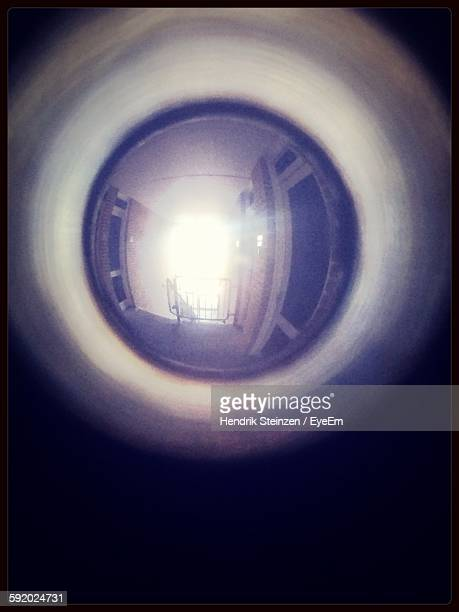 View Of Empty Corridor Through Peephole