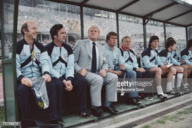 View of England manager Ron Greenwood pictured 3rd from left with from left Fred Street Bill Taylor Geoff Hurst Dr Vernon Edwards Paul Mariner and...