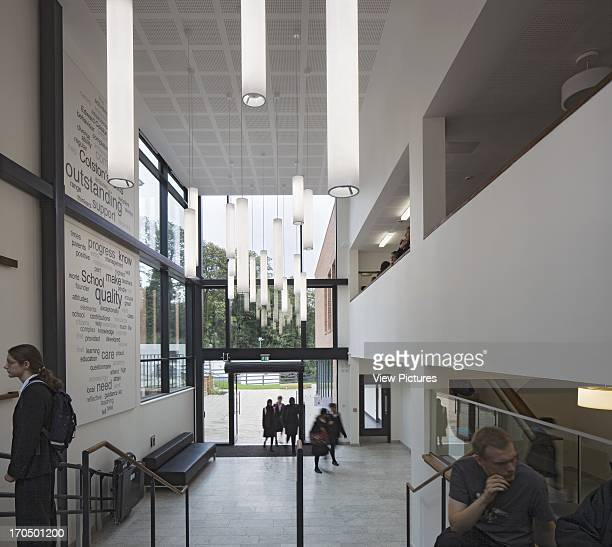 View of entrance foyer with mezzanine and glazed schoolyard access Colston's Girls' School School Europe United Kingdom Avon Walters and Cohen Ltd