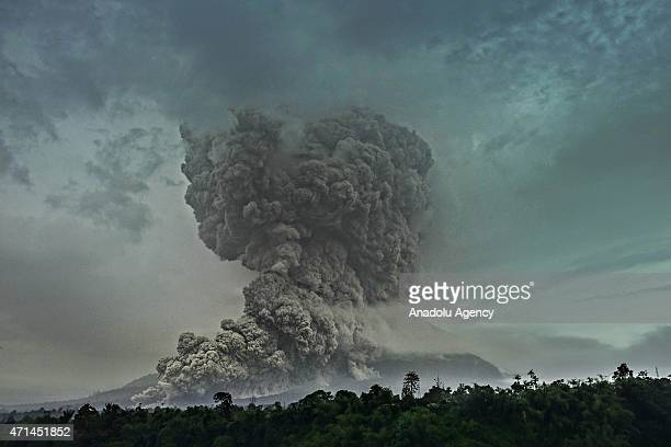 A view of eruption Mount Sinabung seen from Tiga Pancur Villages Karo North Sumatra Indonesia on April 28 2015 The explosion of the mount Sinabung...