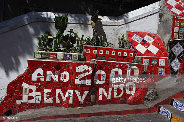View of Escadaria Selaron a Colorful tiled stairway in the Lapa district of Rio de Janeiro Brazil on August 16 2010 Photo by Lisa Wiltse