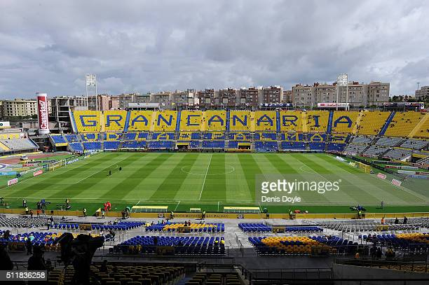 View of Estadio Gran Canaria ahead of the La Liga match between UD Las Palmas and FC Barcelona at Estadio Gran Canaria on February 20 2016 in Las...