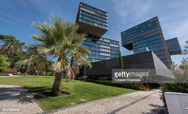 View of Estoril Sol Residence a 14story condominium building facing the sea near Praia das Moitas on August 23 2017 in Cascais Portugal So many of...