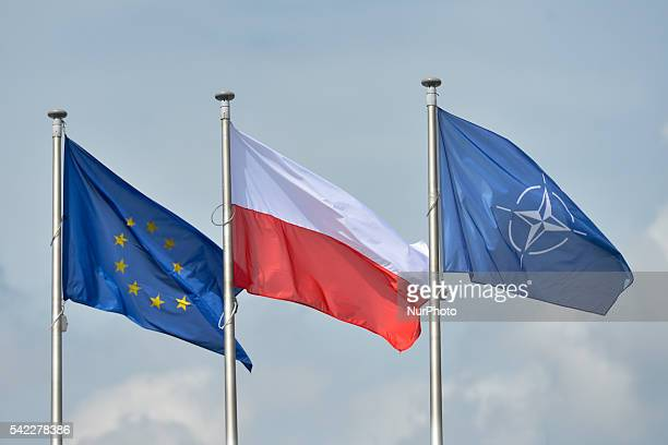 A view of EU Polish and NATO flags at the Presidential Palace in Warsaw On Tuesday 21 June 2016 in Warsaw Poland