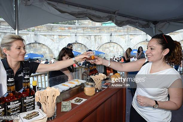 A view of Evan Williams whiskey being served to a guest at The 7th Annual Saveur Summer Cookout at Boat Basin Cafe on June 21 2016 in New York City