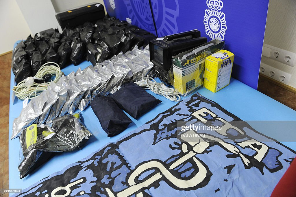View of explosives seized by the Spanish Police during a police operation against the Basque separatist group ETA on June 23 in the Northern Spanish...