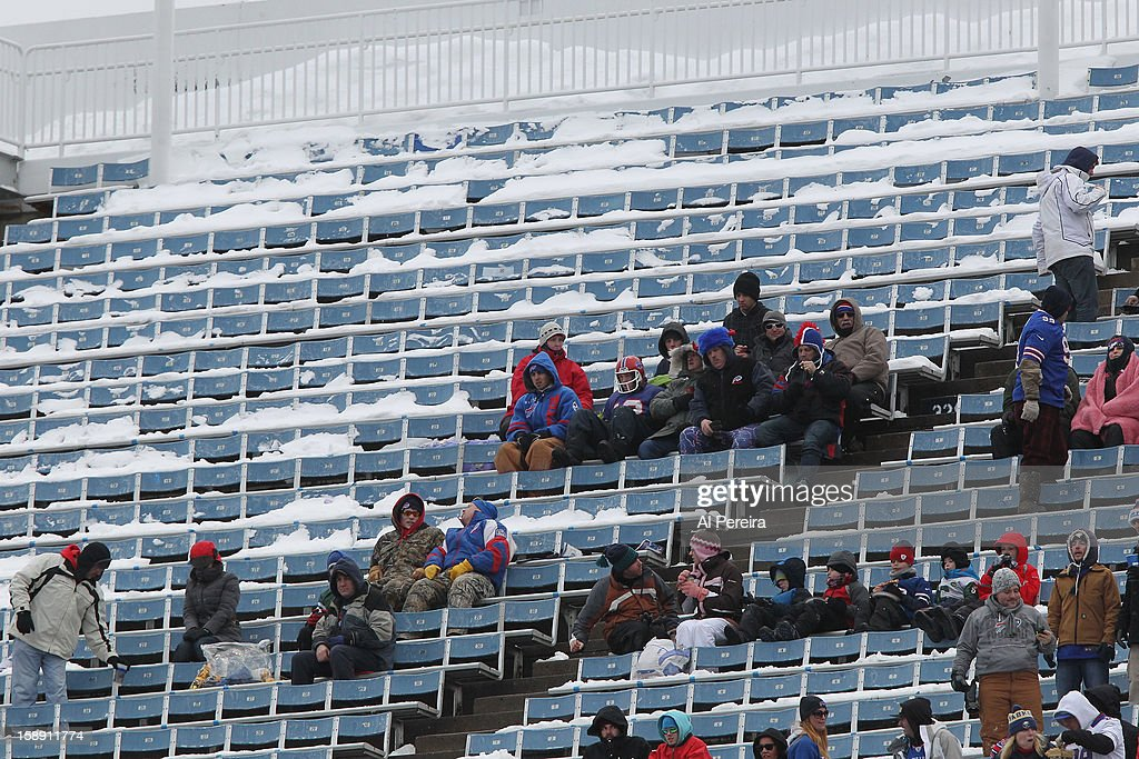 View of fans in snow-covered seats during the game against the New York Jets and the Buffalo Bills when the Buffalo Bills host the New York Jets at Ralph Wilson Stadium on December 30, 2012 in Orchard Park, New York.