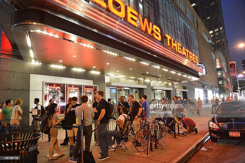 A view of fans waiting outside for 'The Dark Knight Rises' Midnight Premiere at Various Locations on July 19 2012 in New York City