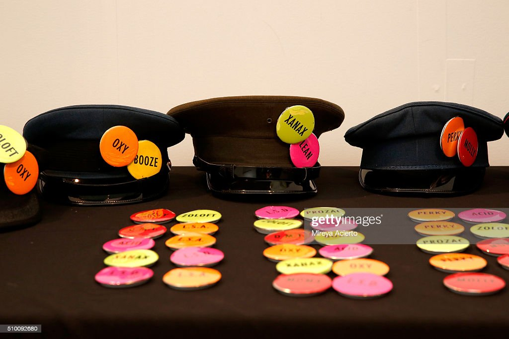 A view of fashion props on display backstage at the Pyer Moss Fall 2016 fashion show during MADE Fashion Week at Milk Studios on February 13, 2016 in New York City.