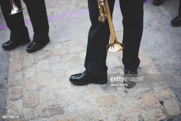 View of feet and shoes of marching band