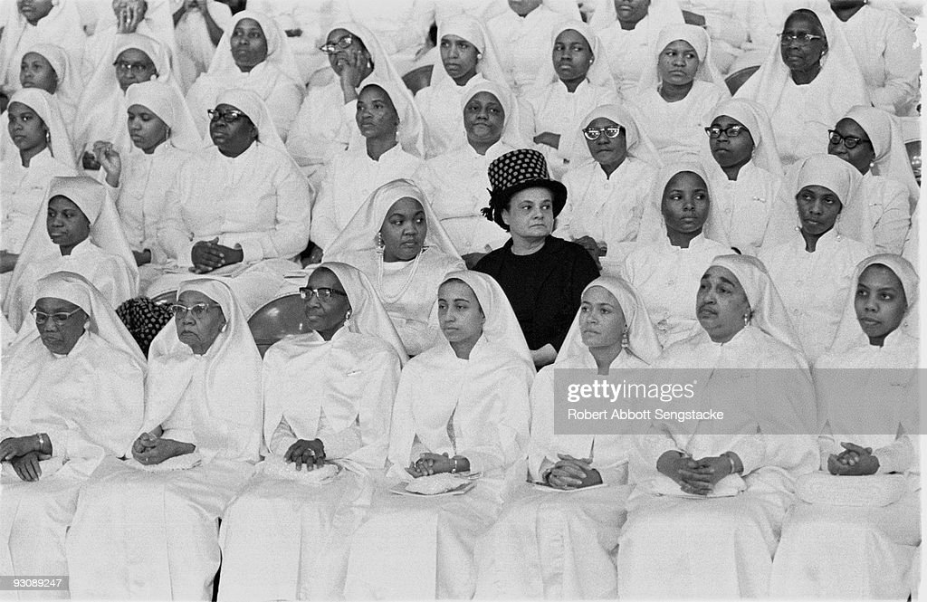View of female Nation of Islam attendees of the Saviour's Day (held on February 26) celebrations, Chicago, Illinois, mid 1960s.