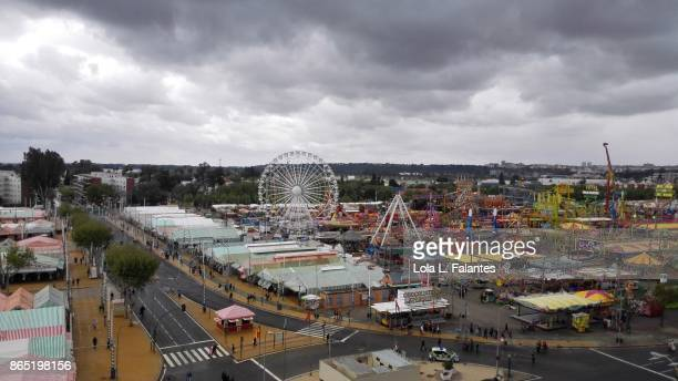View of feria de abril in Seville, with stormy weather