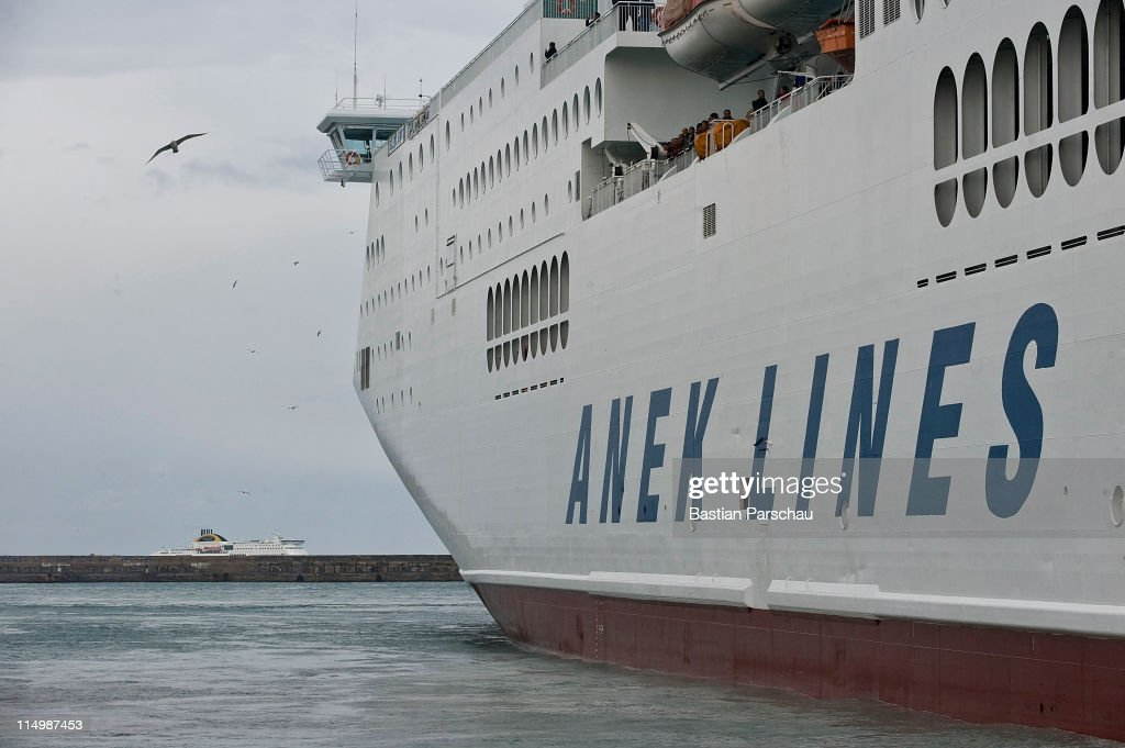A view of ferries anchored in the port of Heraklion on February 24, 2011 in Heraklion, Greece.