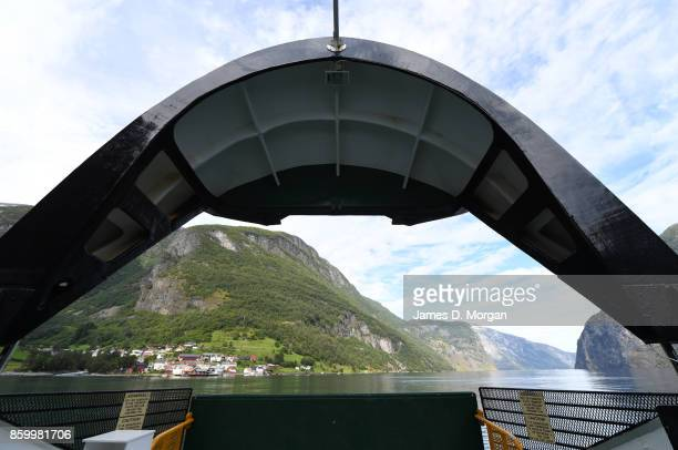 View of ferry preparing the dock in Northern Norway fjord on February 8th 2017 in Norway