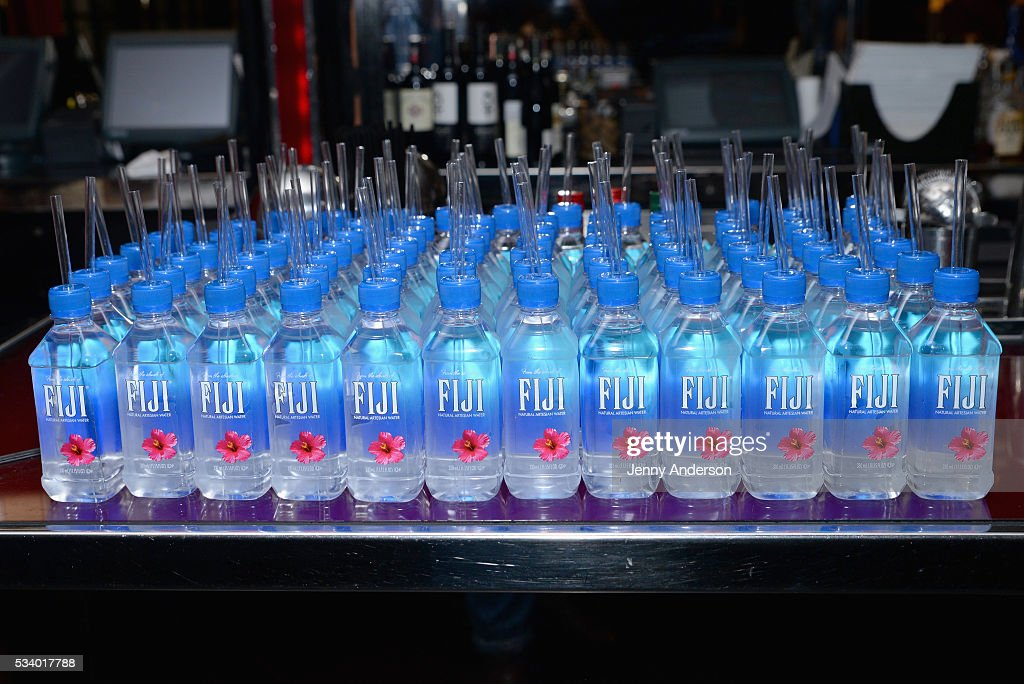 View of Fiji Water on display at A Toast To The 2016 Tony Awards Creative Arts Nominees at The Lambs Club on May 24, 2016 in New York City.