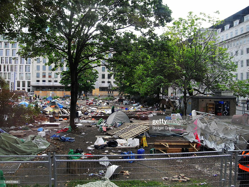 A view of Finsbury Square the morning after Occupy London was evicted from the area on June 14, 2012 in London, England. The camp was set up in October 2011 as part of the Occupy movement and was evicted after Islington Council succeeded in winning a court action against the group.