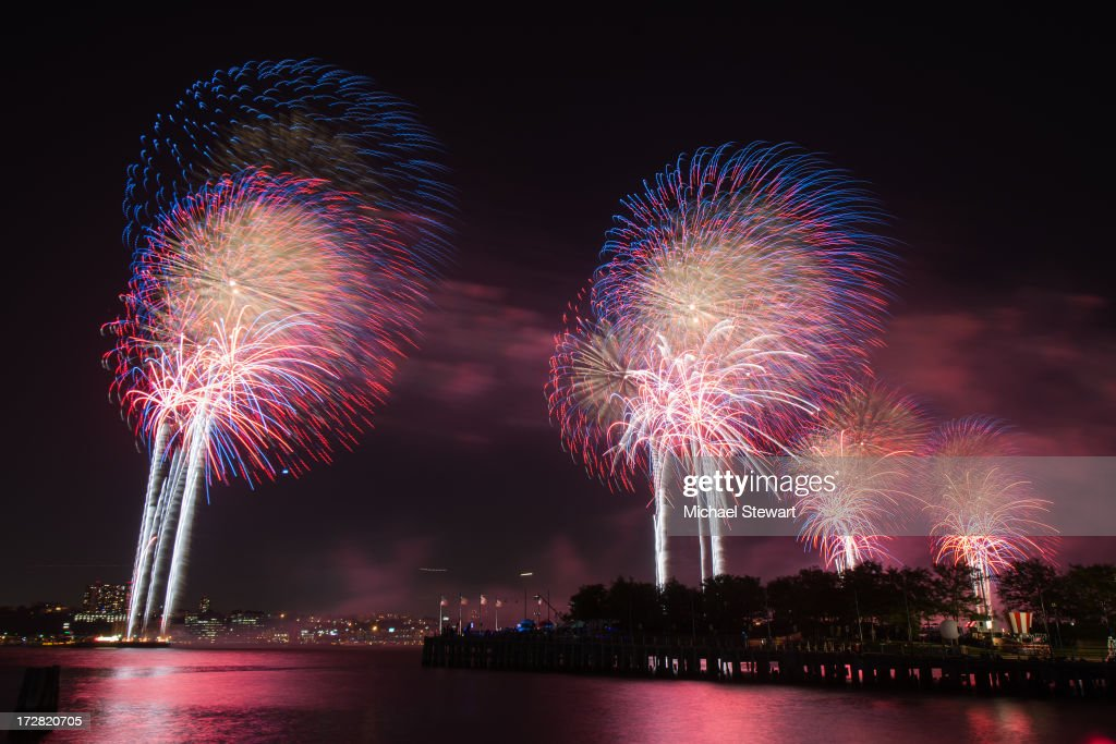A view of fireworks during the 37th annual Macy's 4th of July Fireworks over the Hudson River on July 4, 2013 in New York City.