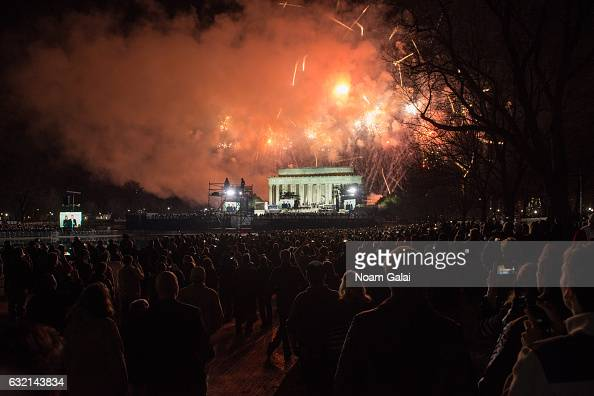 A view of fireworks over the Lincoln Memorial during the Inaugural 2017 Make America Great Again Welcome Celebration on January 19 2017 in Washington...