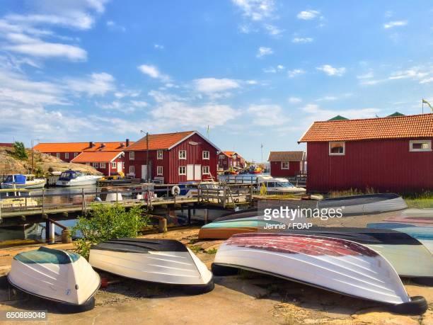 View of fishing huts in Smogen, Sweden