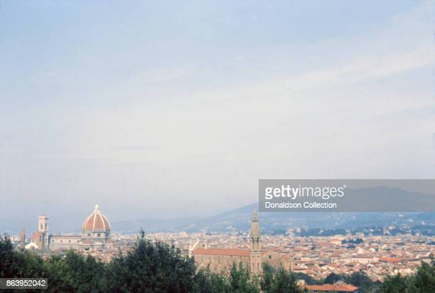 A view of Florence from the Piazzale Michelangelo on September 15 1963 in Florence Italy