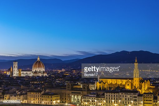 view of Florence in evening, Italy : Stock Photo