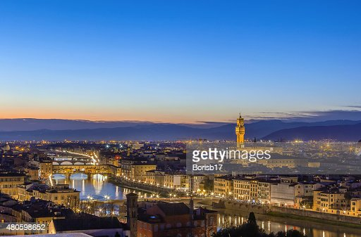 view of Florence with Ponte Vecchio, Italy : Stock Photo