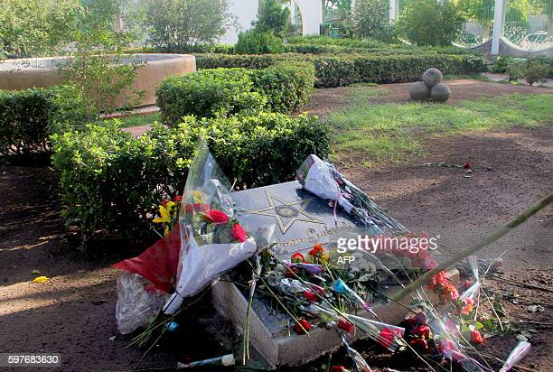 View of flowers placed on a plaque inside the house of the late Mexican singer Juan Gabriel in Ciudad Juarez Mexico on August 29 2016 Mexican singer...