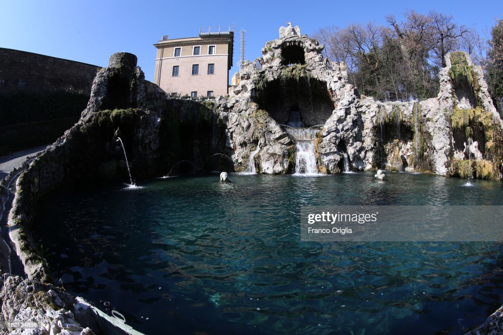 A view of Fonatana Dello Scoglio (fountain of the cliff) in front of the convent of Mater Ecclesiae on February 19, 2013 in Vatican City, Vatican. When Pope Benedict XVI steps down on February 28, 2013 after almost eight years serving as the 265th Pope, it is reported that he will live in the Vatican Gardens.