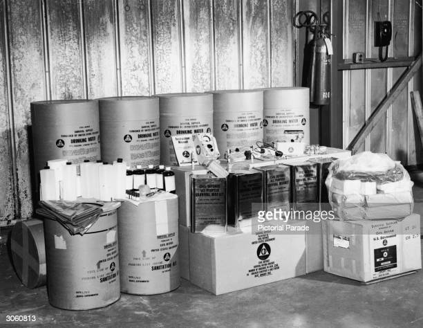 View of food sanitation and survival supplies issued by the US defense department for stocking a 50 person public bomb fallout shelter during the...