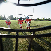 View of football players and field from inside helmet