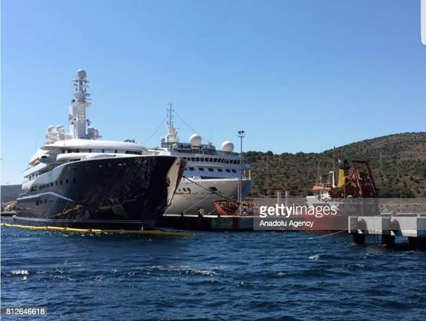 A view of Former Prime Minister of Qatar Hamad bin Jassim bin Jaber Al Thani's superyatch named 'Al Mirqab' as it ancored for a refuel in Cesme...