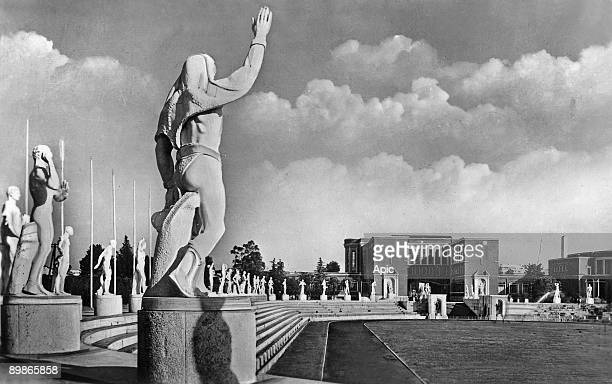 View of Foro Mussolini sports complex built in 19281938 in Rome postcard 1946