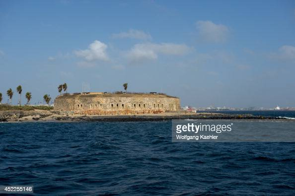 View of fortress on Goree Island in the Atlantic Ocean outside of Dakar in Senegal West Africa