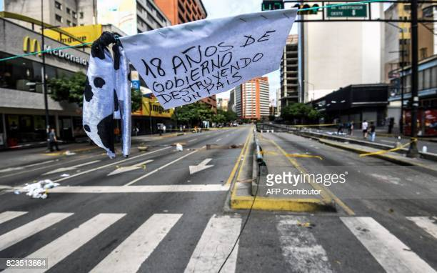 View of Francisco de Miranda avenue during a 48hour general strike called by the opposition in Caracas on July 27 2017 Venezuela's opposition kicked...