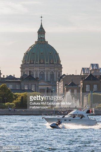 View of Frederikskirken marble church and fountain, Amalienborg Palace, Copenhagen, Zealand, Denmark