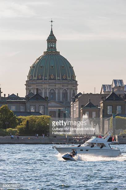 View of Frederikskirken marble church and fountain, Amalienborg Palace, Copenhagen, Zealand, Denmark