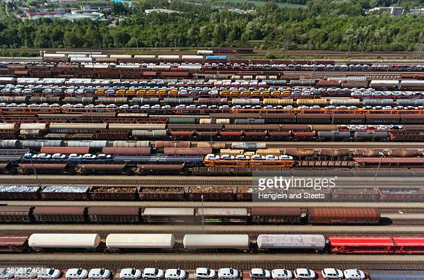 View of freight and railways, Munich, Bavaria, Germany