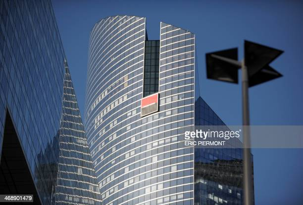 View of French bank Societe Generale's building on the day of the presentation of the group's fullyear and 4th quarter 2013 results at the bank's...