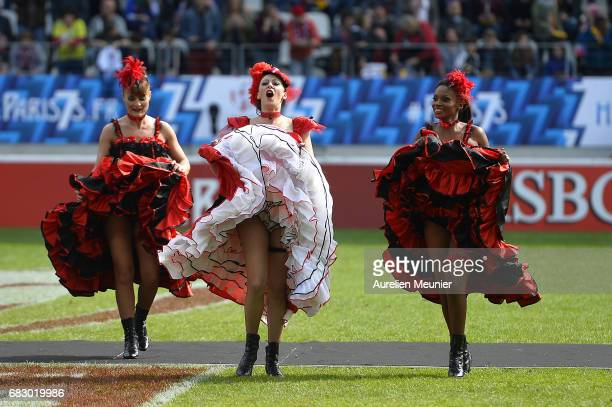 A view of French Cancan dancers before the final match between South Africa and Scotland during the HSBC Paris sevens on May 14 2017 in Paris France