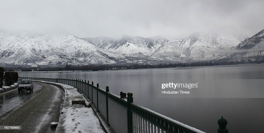 A view of fresh snow coverd mountain on February 27, 2013 in Srinagar, India. Kashmir valley was hit by a fresh spell of rains and snow during the preceding night of February 26 and 27.