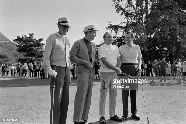View of from left American actors James Stewart and Fred MacMurray Britishborn American actor Bob Hope and US President Richard Nixon as they pose...