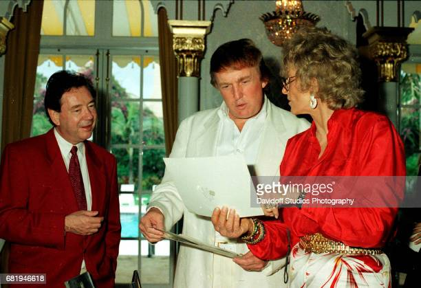 View of from left American film producer James Grau his brotherinlaw real estate developer Donald Trump and former competative swimmer Marjorie Post...