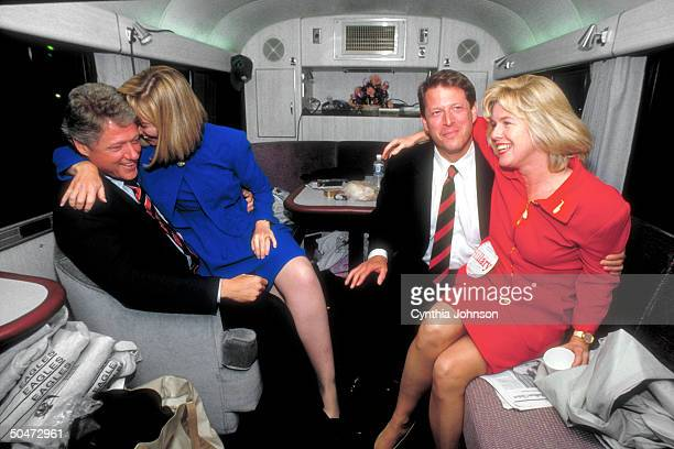 View of from left American Presidential candidate Bill Clinton his wife Hillary Clinton Vice Presidential Candidate Al Gore and his wife Tipper Gore...