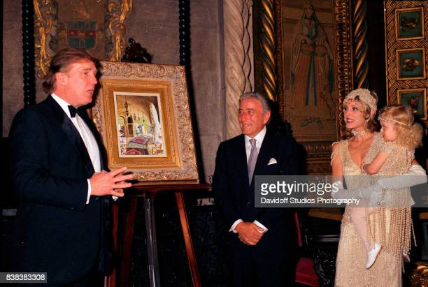 View of from left American real estate developer Donald Trump musician Tony Bennett actress Marla Maples and her daughter Tiffany Trump during a...